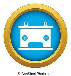Electricity accumulator battery icon blue isolated