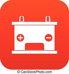 Electricity accumulator battery icon digital red