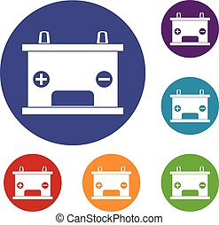 Electricity accumulator battery icons set