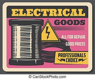 Electricity and electrical goods store, vector