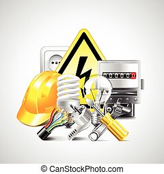 Electricity and energy tools on white background -...