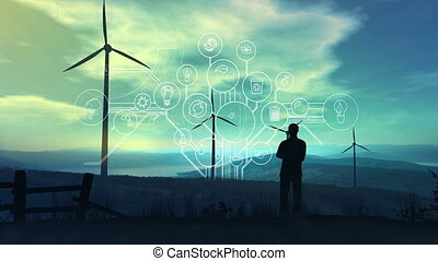 Infographics on the ecology and energy of the future on the background of wind power plants.