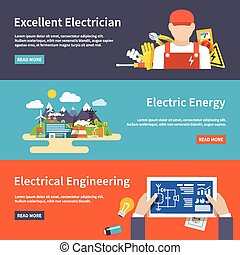 Electricity Banner Set - Electricity flat horizontal banner...