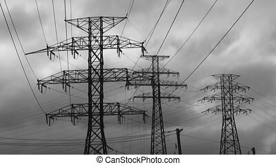 Electricity. Black and white.