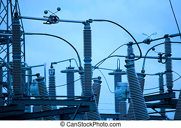 electricity - blue toned photo of a power station...