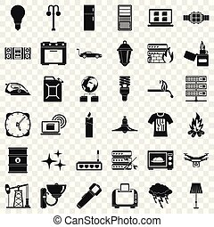 Electricity computer icons set, simple style