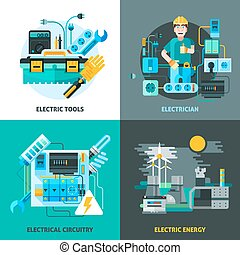 Electricity Concept Icons Set - Electricity concept icons...