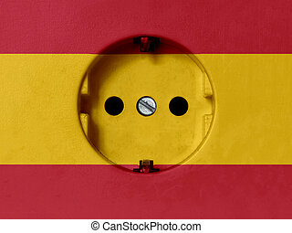 Electricity Concept: Type F Power Socket With Spain Flag - ...