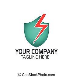 electricity., concetto, scudo, protezione
