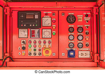 electricity Control panel of fuel power generator.