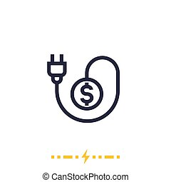 electricity costs icon on white with electric plug