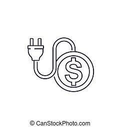 electricity costs, line icon with electric plug