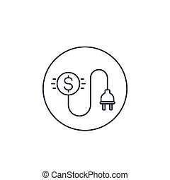 electricity costs line icon with electric plug