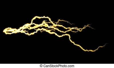 Electricity crackling. Abstract background with electric arcs. Realistic lightning strikes.Thunderstorm with flashing lightning. Seamless looping. Gold.