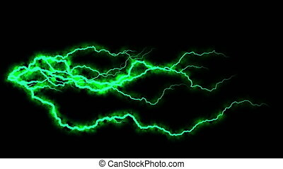 Electricity crackling. Abstract background with electric arcs. Realistic lightning strikes.Thunderstorm with flashing lightning. Seamless looping. Green.