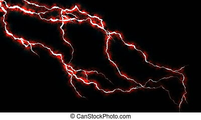 Electricity crackling. Abstract background with electric arcs. Realistic lightning strikes.Thunderstorm with flashing lightning. Seamless looping. Red.