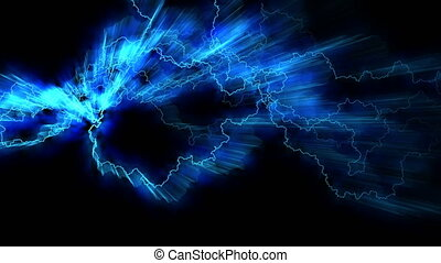 Electricity crackling. Abstract background with electric arcs. Realistic lightning strikes. Electric and magnetic fields. Seamless looping. BLue.