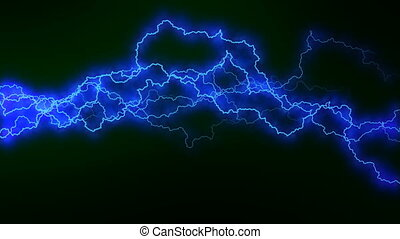 Electricity crackling. Abstract background with electric arcs. Realistic lightning strikes.Thunderstorm with flashing lightning. Seamless looping. BLue.