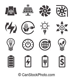 Electricity, Ecology And Energy Icon Set, Vector icon design
