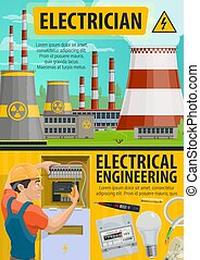 Electricity, energetics industry, electrician service - ...