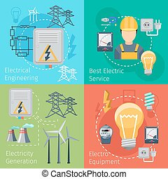 Electricity energy concepts vector set