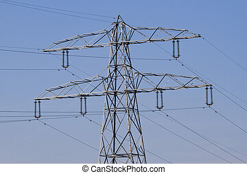 Electricity - energy supply - Pylon with electricity wires...