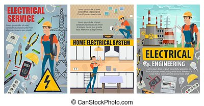 Electricity engineering plant, electrical services