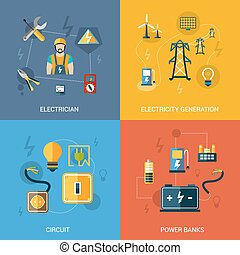 Electricity Flat Set - Electricity design concept set with...