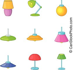 Electricity floor lamp icons set