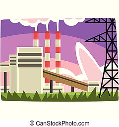 Electricity generation plant, fossil fuel power station horizontal vector illustration