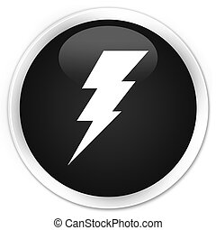 Electricity icon black glossy round button