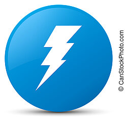 Electricity icon cyan blue round button