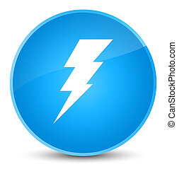 Electricity icon elegant cyan blue round button