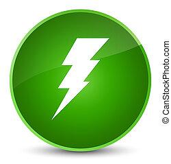 Electricity icon elegant green round button