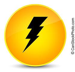 Electricity icon elegant yellow round button