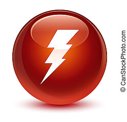 Electricity icon glassy brown round button
