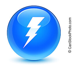 Electricity icon glassy cyan blue round button