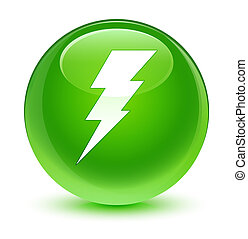 Electricity icon glassy green round button