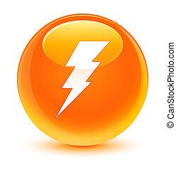 Electricity icon glassy orange round button