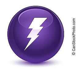 Electricity icon glassy purple round button