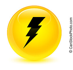 Electricity icon glassy yellow round button