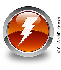 Electricity icon glossy brown round button