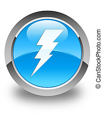 Electricity icon glossy cyan blue round button