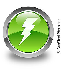 Electricity icon glossy green round button