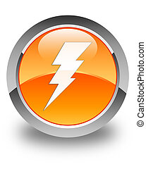 Electricity icon glossy orange round button