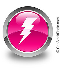 Electricity icon glossy pink round button
