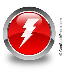 Electricity icon glossy red round button