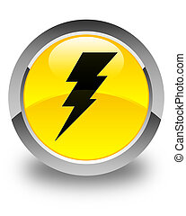 Electricity icon glossy yellow round button