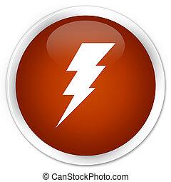Electricity icon premium brown round button