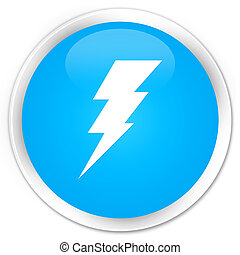 Electricity icon premium cyan blue round button